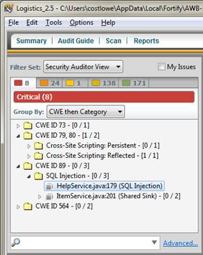 HP Fortify Audit Workbench enables users to control the grouping criteria, to browse issues by different criteria. Examples may include CWE, CWE then File, or Package then CWE, etc.