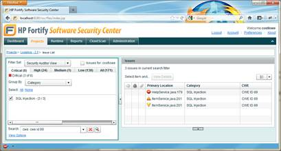 HP Software Security Center enables grouping and searching by CWE.